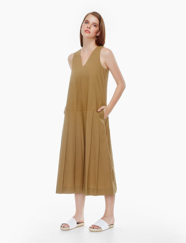 pressed pleated cotton dress - tan