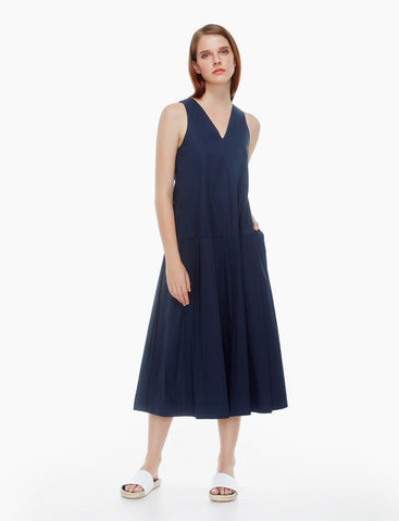 pressed pleated cotton dress - midnight