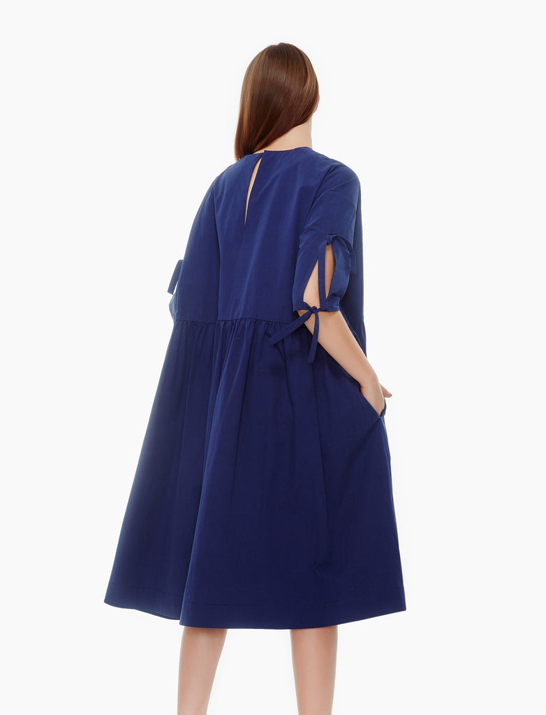oversized sleeve tie dress- navy blue