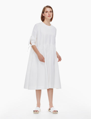 oversized sleeve tie dress - ivory