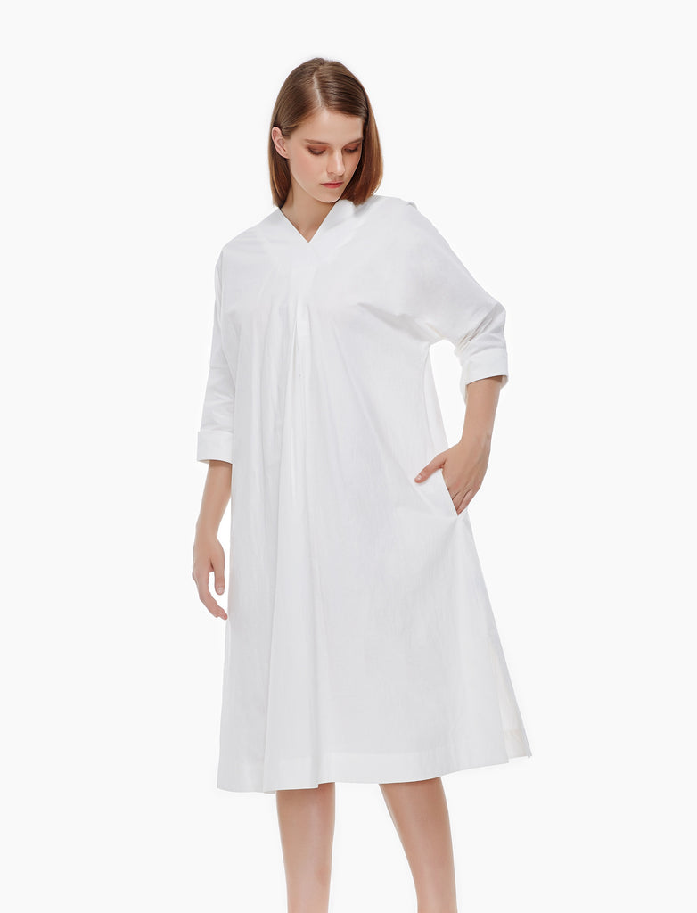 wrinkled washed cotton tent dress - ivory
