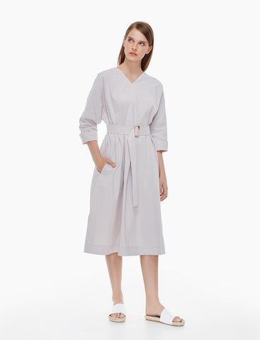 wrinkled washed cotton tent dress - cool grey