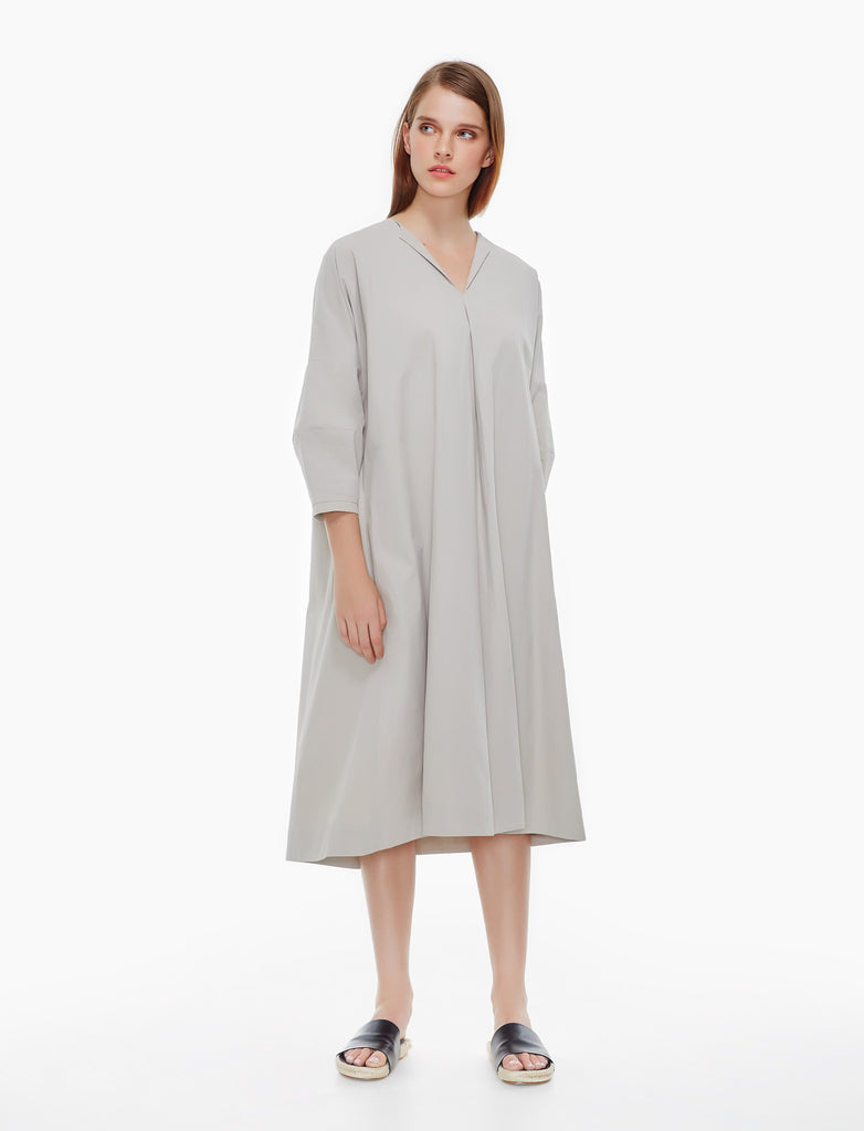 sculptural sleeve dress - earl grey