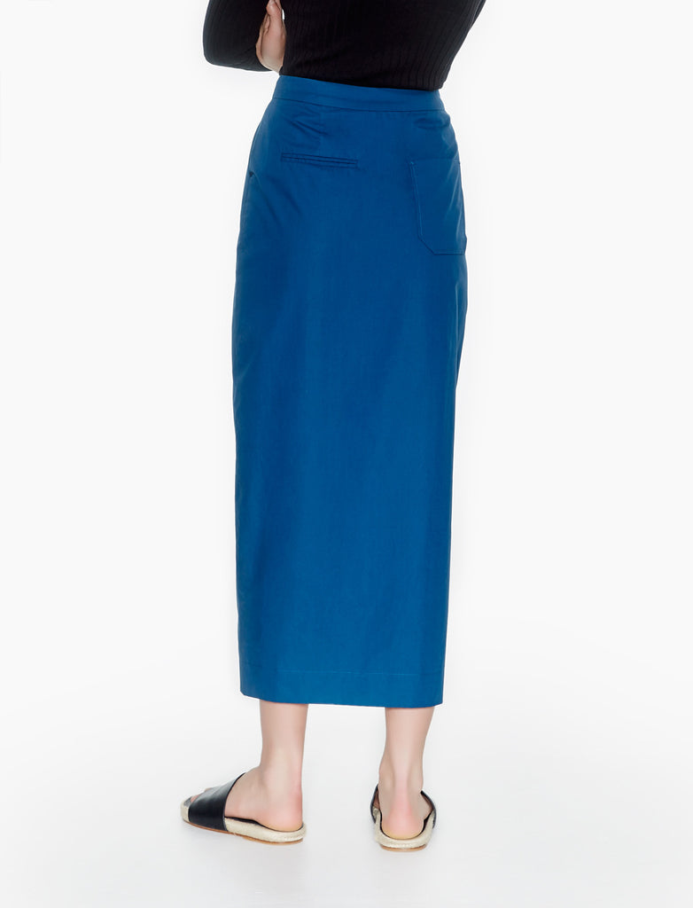 front slit long skirt - teal
