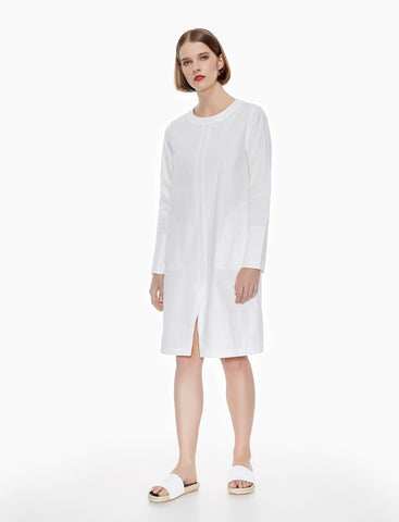 split front cotton shirt dress - ivory