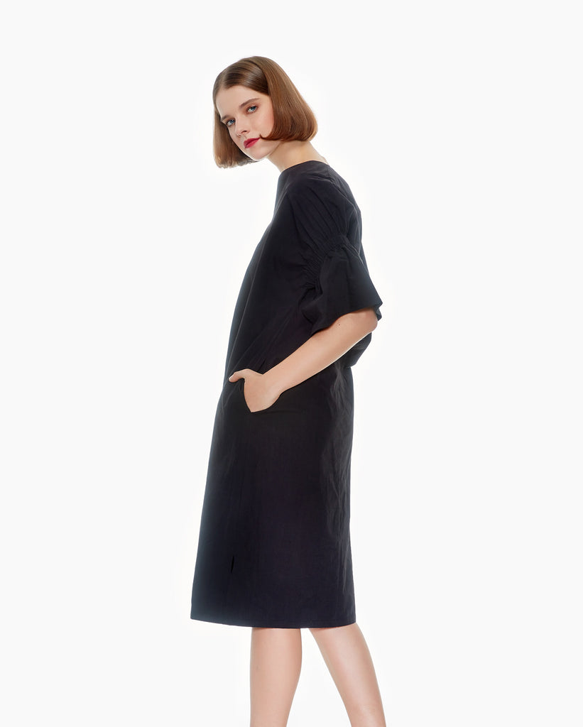 elastic sleeve cotton dress