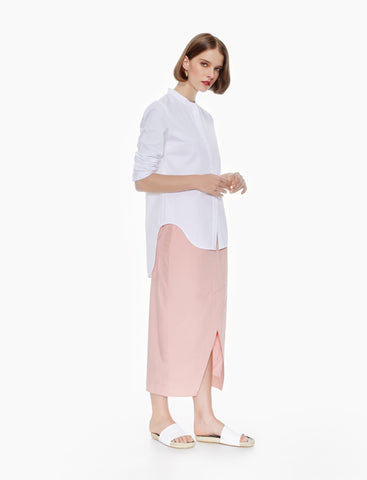 front slit long skirt - blush