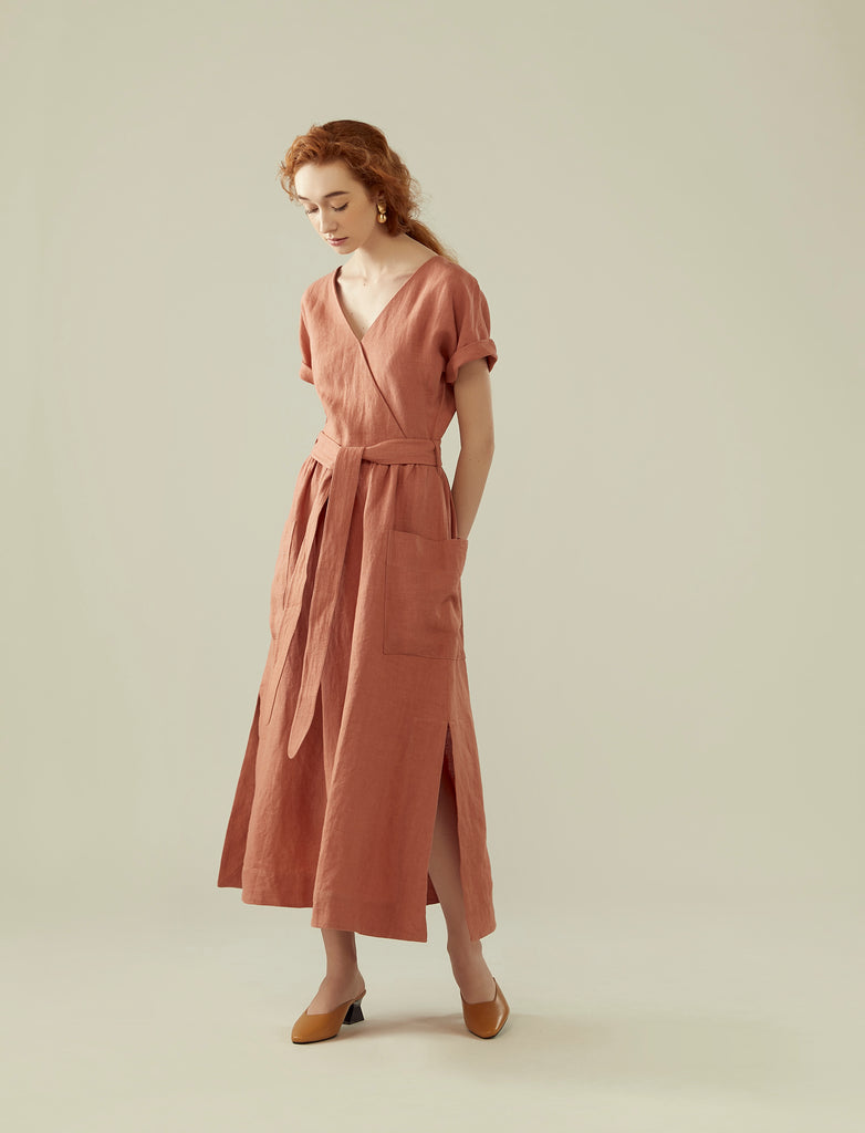 front wrap linen long dress- coral