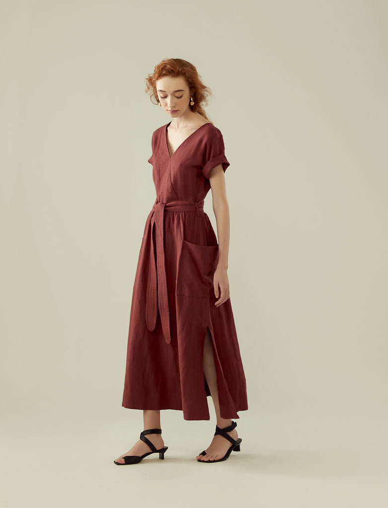 front wrap linen long dress- red onion