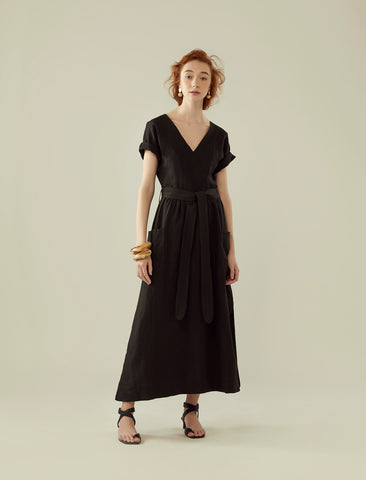 front wrap linen long dress- black