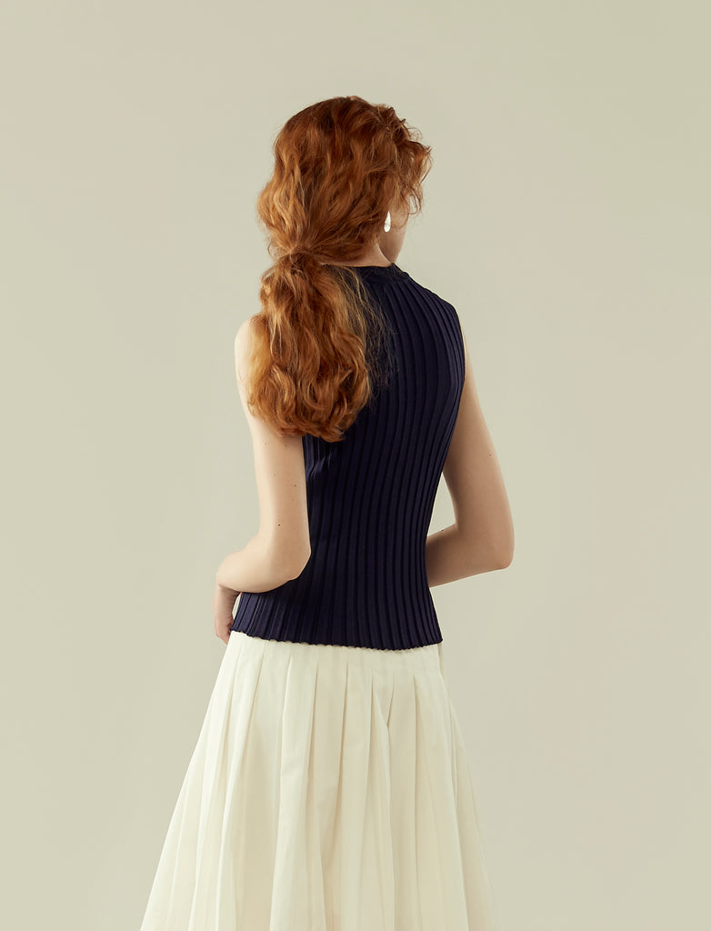 round neck rib knit sleeveless top- navy blue