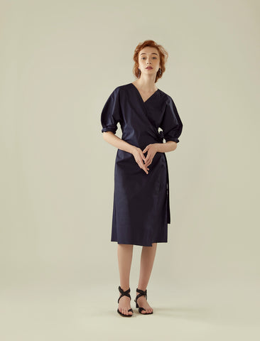 wrap dress with cocoon sleeve- midnight