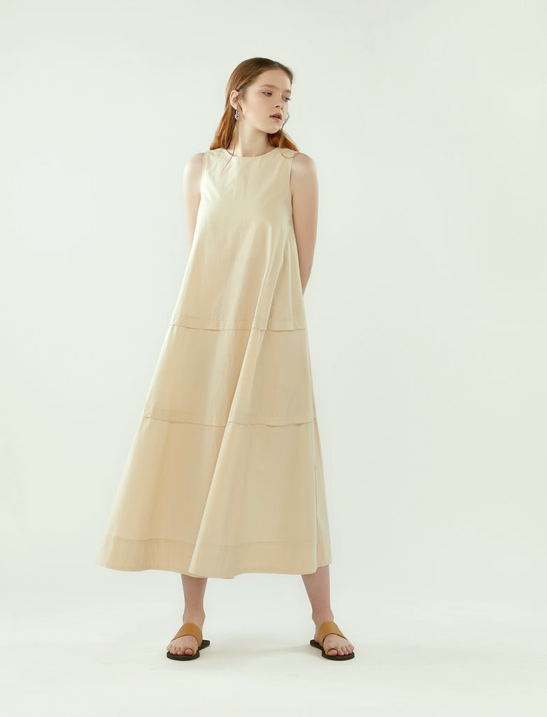 layered panel tent dress- oatmeal