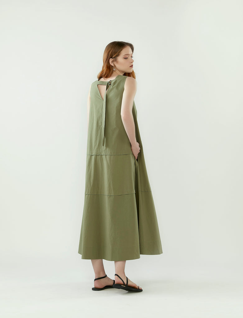 layered panel tent dress- eucalyptus