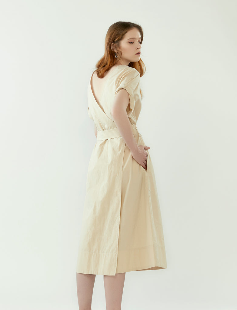 back wrap dress with belt- oatmeal