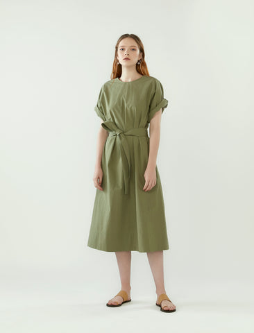 back wrap dress with belt- eucalyptus