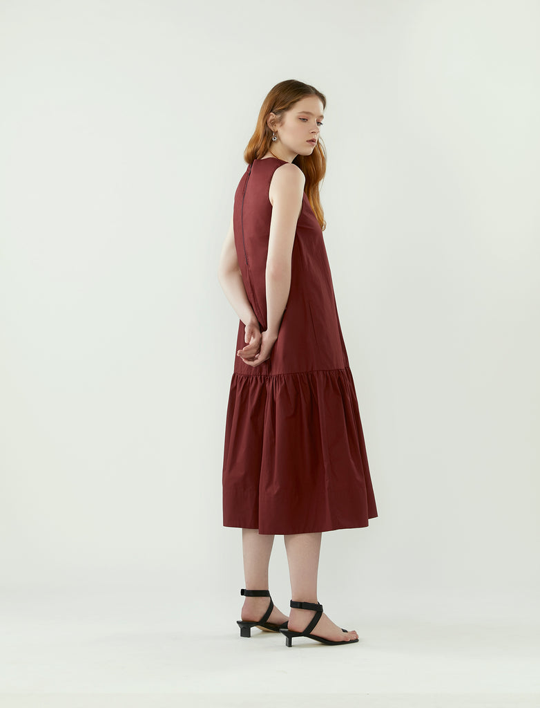 contrast stitch pocket dress- barolo