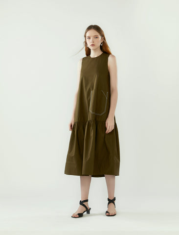 contrast stitch pocket dress- khaki green