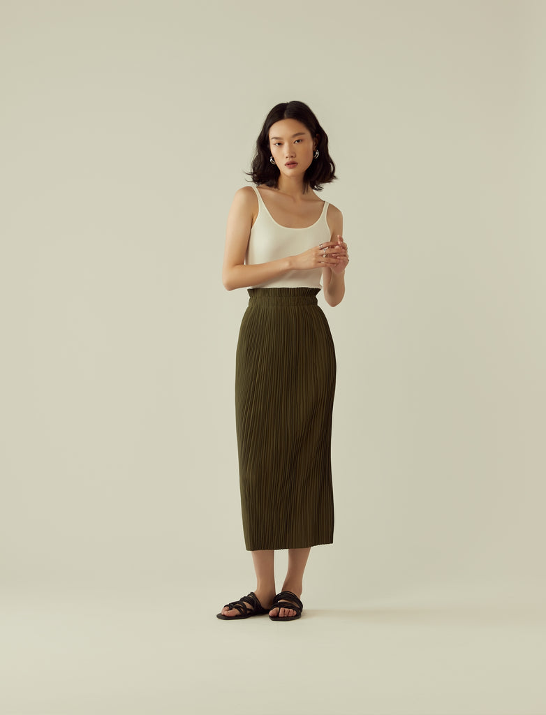 pleated midi skirt- khaki green