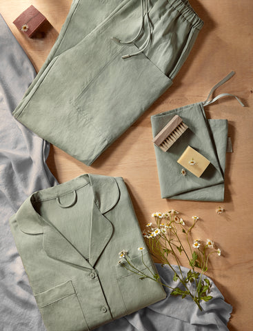 Shirt with lapel collar set 03- sage