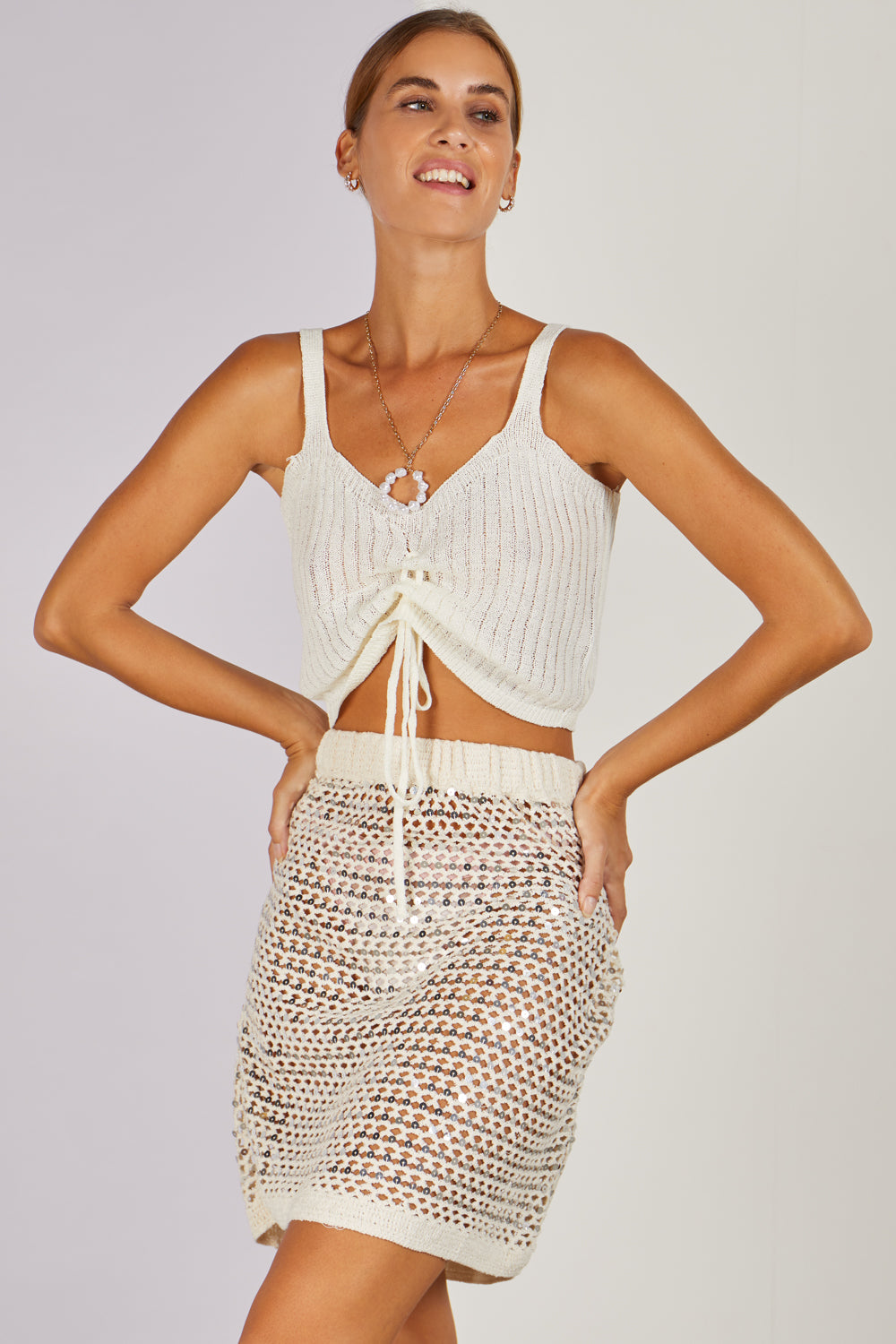 No Angel Knitted Sequin Mini Beach Skirt Beige