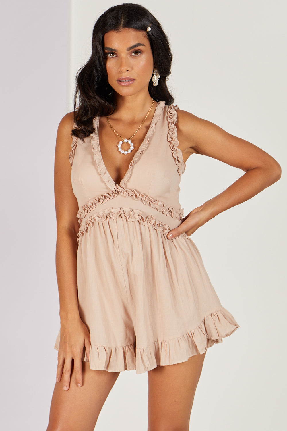 You Can Spoil Me Playsuit Mocha/Nude