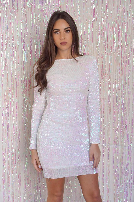 Super Soft Sequin Dress Iridescent White