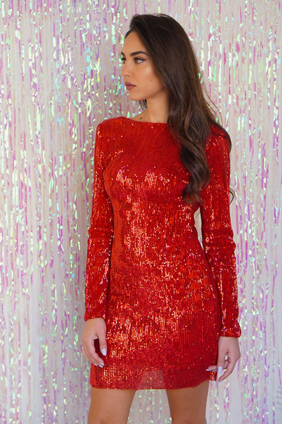 Super Soft Sequin Dress Red