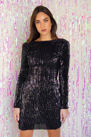 Super Soft Sequin Dress Black