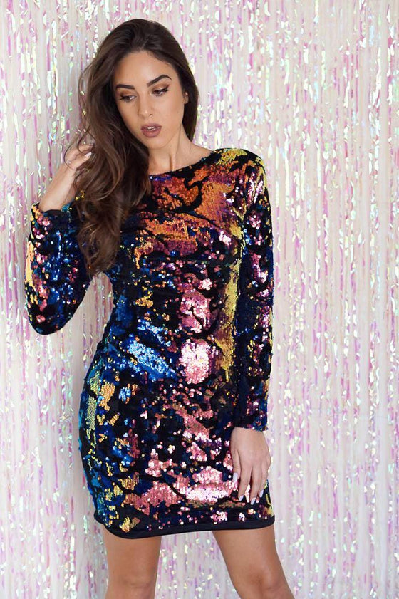 Multicolor Sequin Velvet Long Sleeve Dress