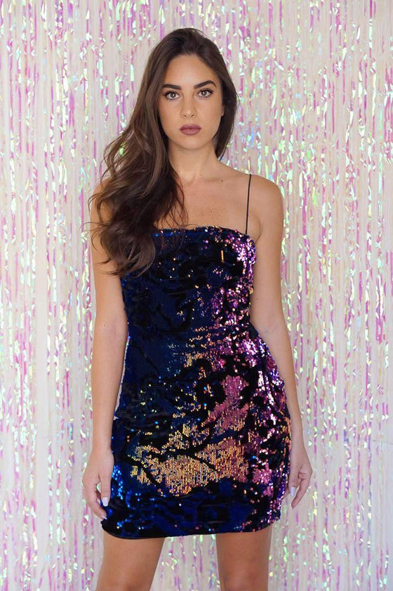 Multicolor Sequin Velvet Dress