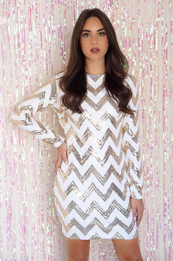 White and Gold Chevron Sequin Dress