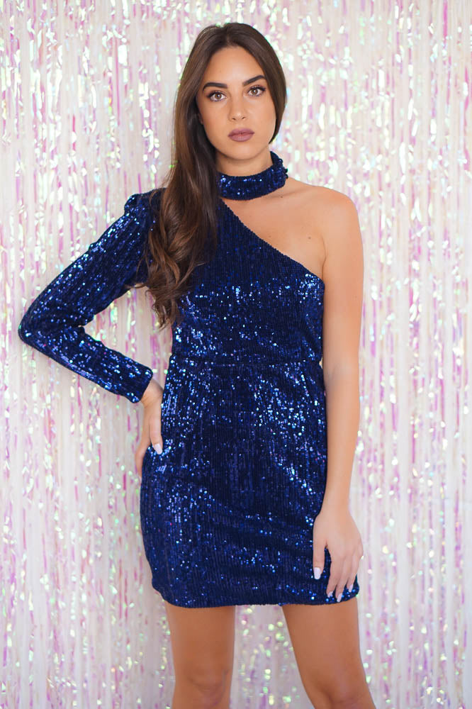 Super Soft Sequin Asymmetric Dress Navy