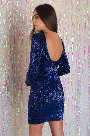 Super Soft Sequin Dress Blue