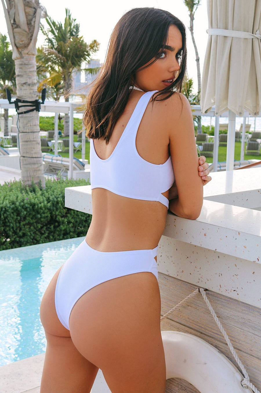 Boracay Ribbed Cut Out Bikini White