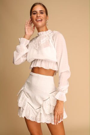 Cello Crop Top Long Sleeved White