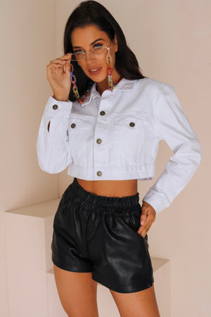 Down In Chicago Faux Leather High Waisted Shorts Black