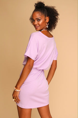 Sofie Ribbed Mini Dress Lilac