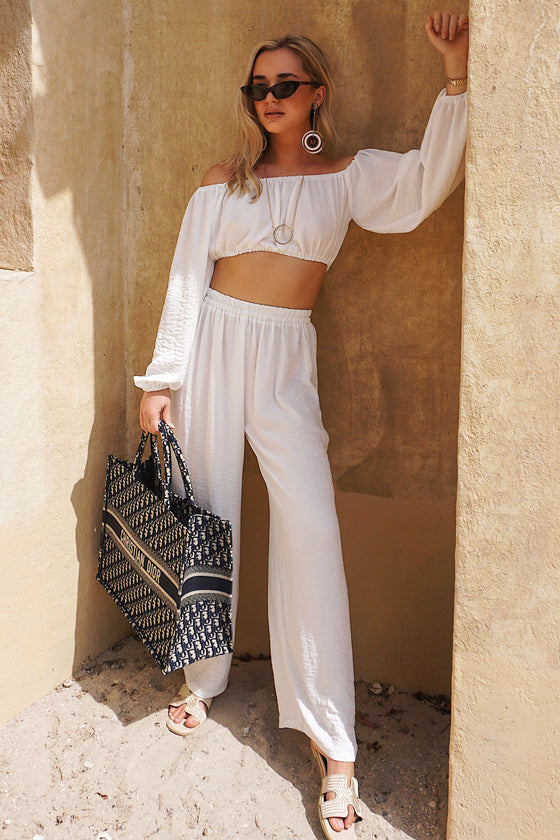 CAFE SAND Nassau Pants White