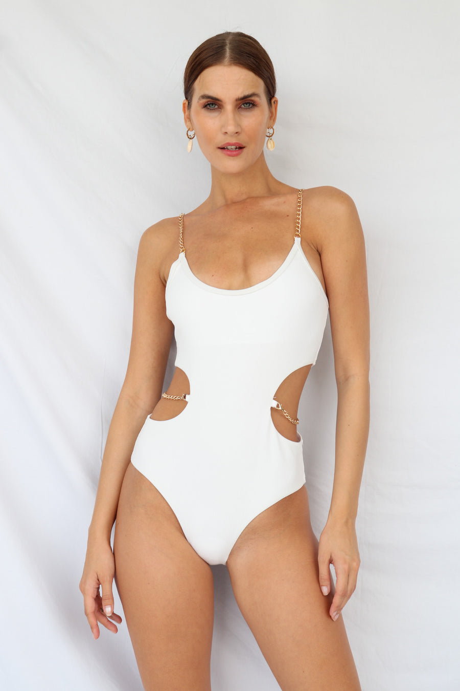 Monaco Glow Chain Swimsuit White