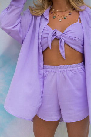 Dani Dyer Never Ending Summer Tie Front Top Lilac