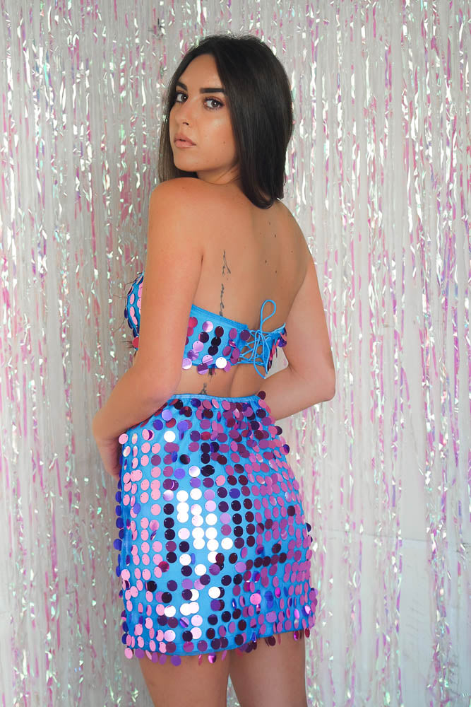 Disc Sequin Co-ord Purple