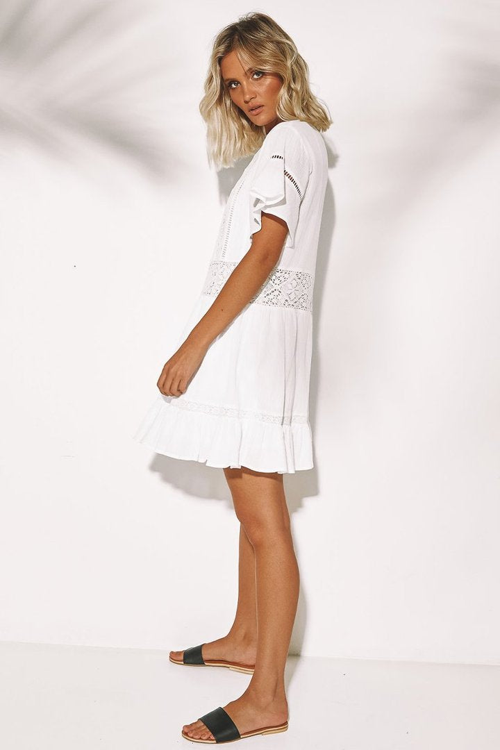 SUNDAYS THE LABEL Wing Dress White