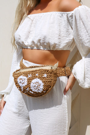 Floral Detail Straw Bum Bag
