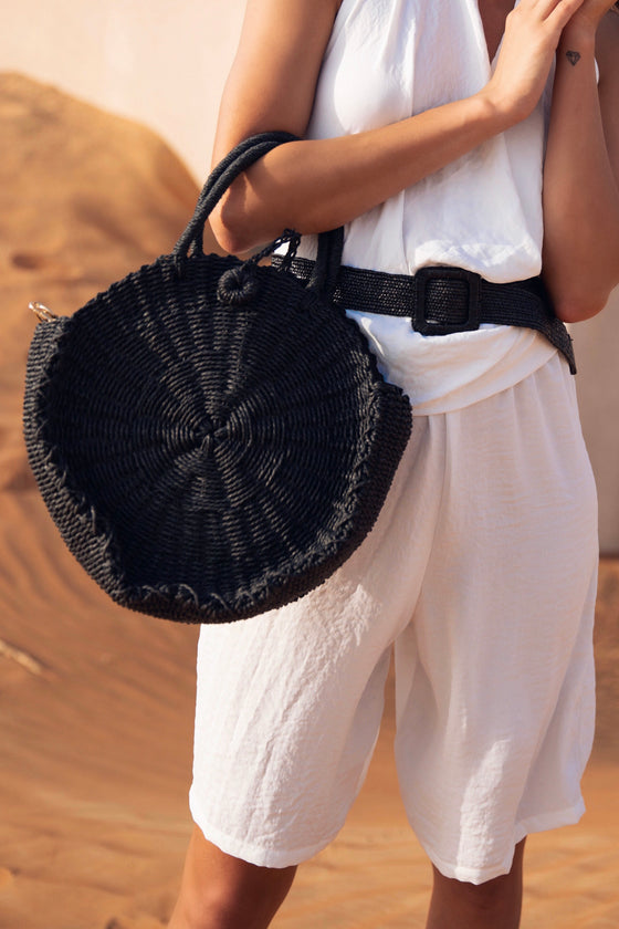 Round Straw Bag Black