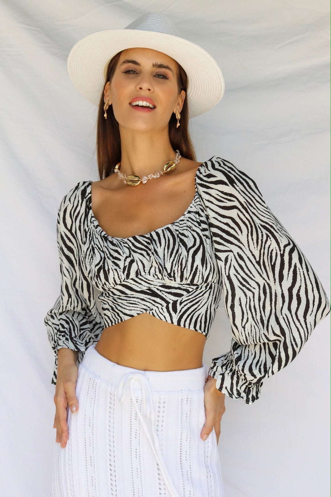 Mysterious Girl Crop Black Zebra