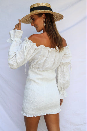 Monte Carlo Shirred Mini Dress White