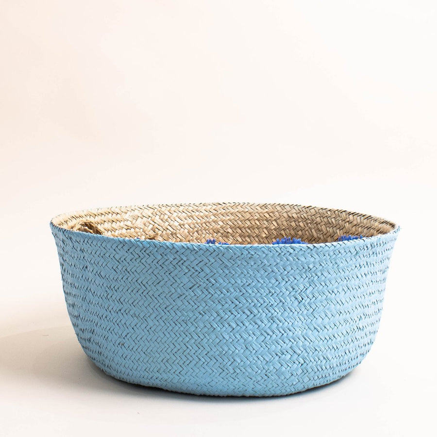 Prickly Pear Hand Woven Seagrass Basket Blue