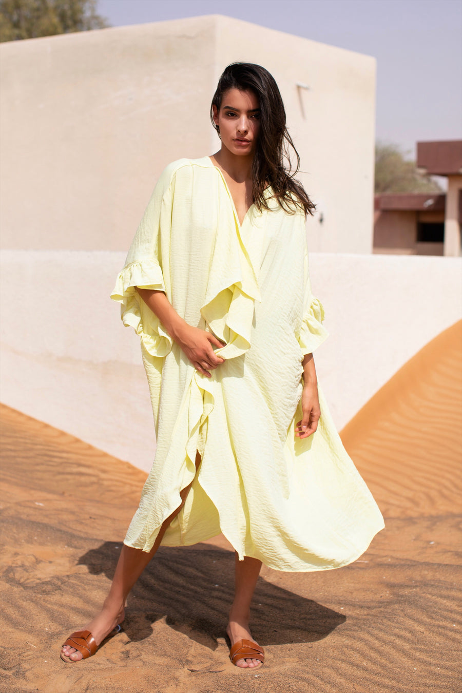 CAFE SAND Bahama Kaftan Yellow