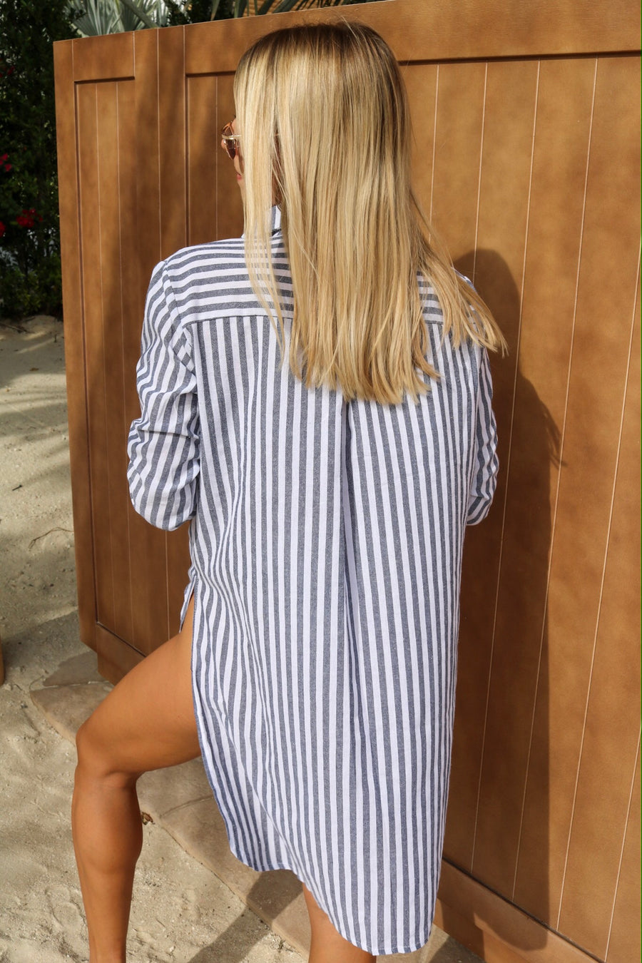 Catch Feels Stripe Oversized Shirt Navy